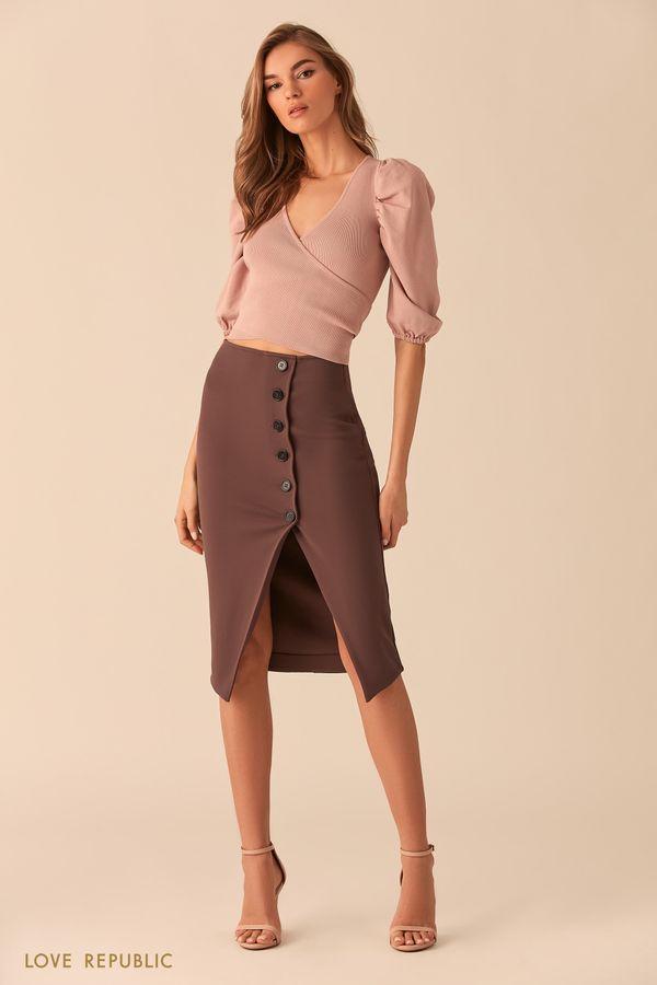 Шоколадная юбка миди напуговицах с разрезом 02541170221-22