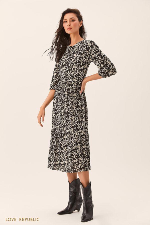 Зеленое приталенное платье 0254126526-12