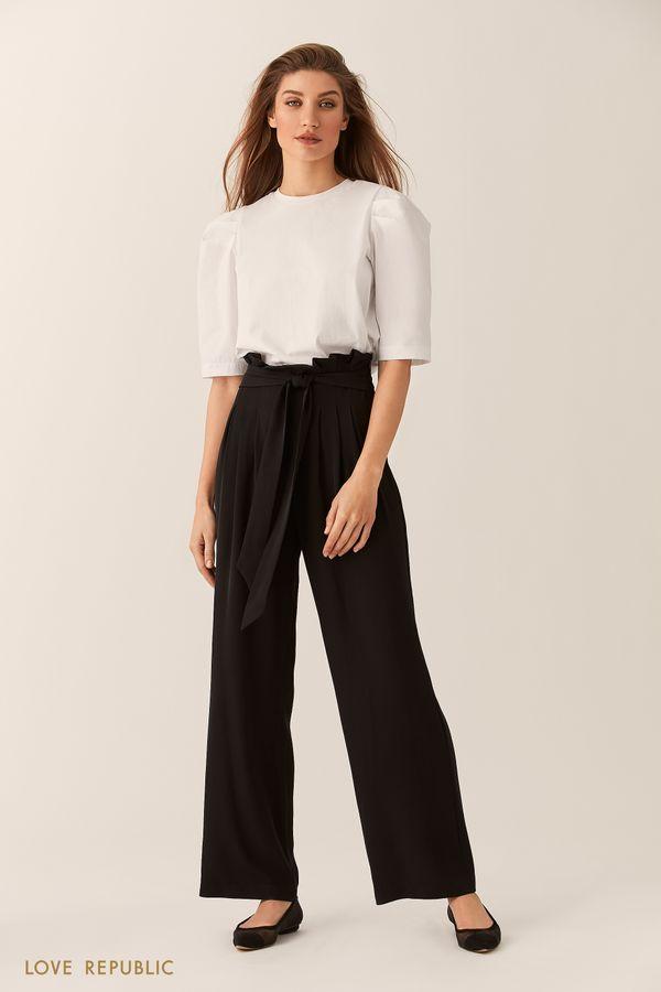 Хлопковая чёрная блузка с рукавами-фонариками 0254127347-50