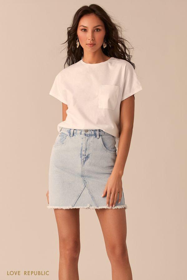 Белая футболка с нагрудным карманом 02541310350-1