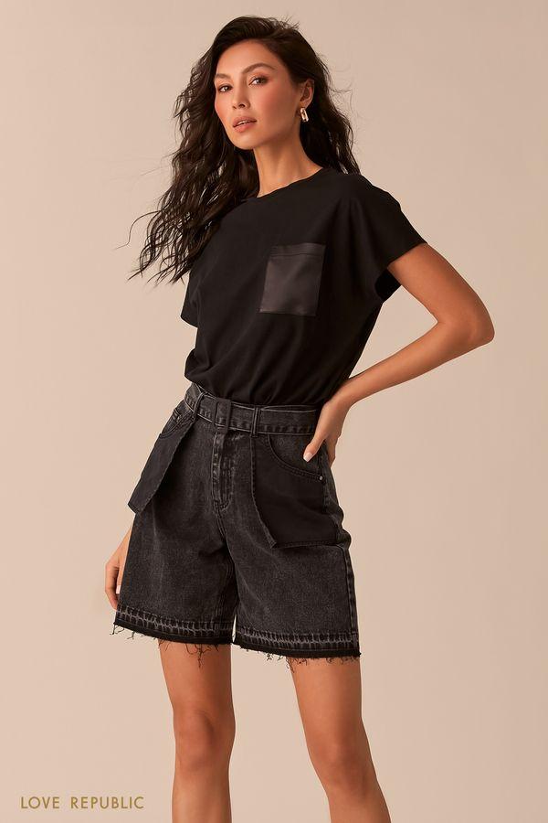 Чёрная футболка с нагрудным карманом 0254131350-50