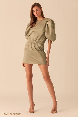 Зеленое платье-мини с рукавами-буфами фото