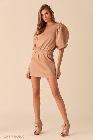 Бежевое платье-мини с рукавами-буфами фото