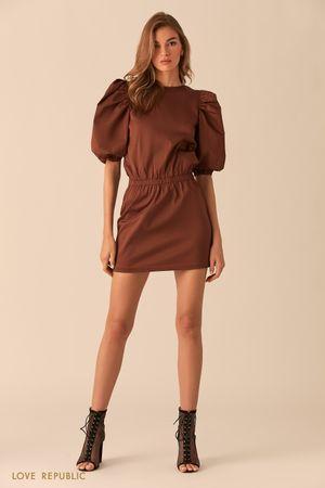Шоколадное платье-мини с рукавами-буфами Love Republic