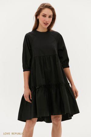Платье-парашют с ярусным подолом