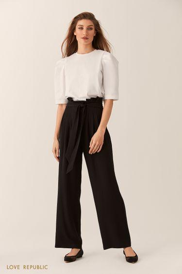 Широкие чёрные брюки с драпировками на талии 0254227754