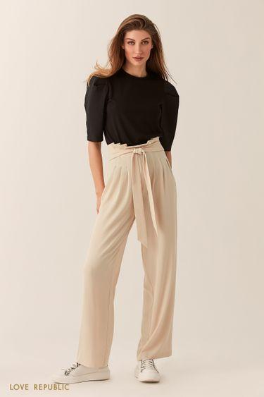 Широкие кремовые брюки с драпировками на талии 0254227754