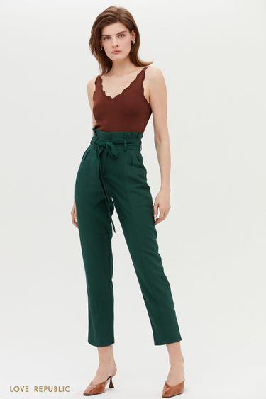 Стильные брюки с поясом и защипами на талии 0254228755