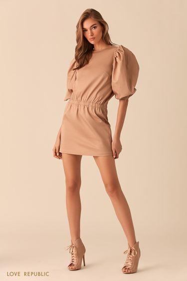 Бежевое платье-мини с рукавами-буфами 02542320527