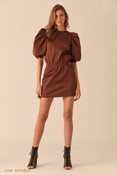 Шоколадное платье-мини с рукавами-буфами 0254232527