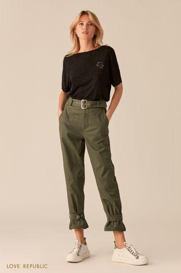 Укороченные брюки с ремешками цвета хаки 0254235757