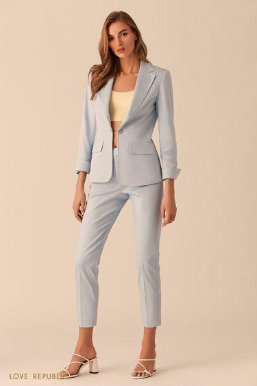Короткие голубые брюки со стрелками 0254236761