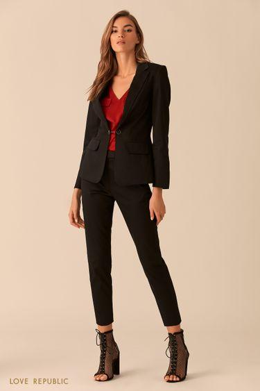 Короткие чёрные брюки со стрелками 0254236761