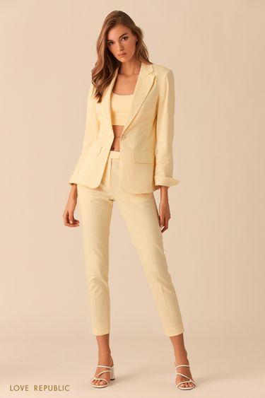 Короткие жёлтые брюки со стрелками 0254236761