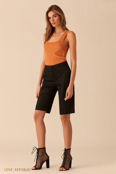Чёрные шорты-бриджи из костюмной ткани 0254236763