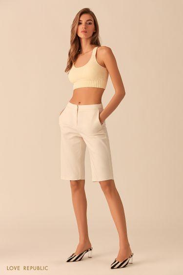 Молочные шорты-бриджи из костюмной ткани 0254236763