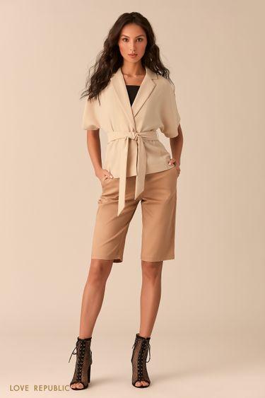 Песочные шорты-бриджи из костюмной ткани 0254236763