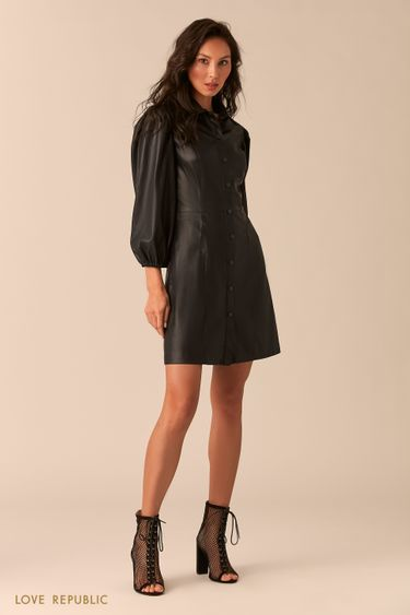 Чёрное платье изискусственной кожи спышными рукавами 0254244529
