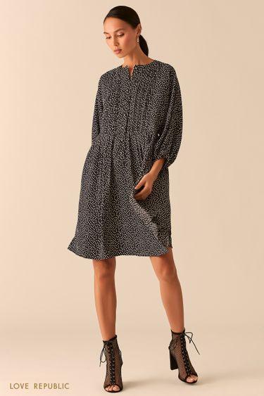 Черное свободное платье в стиле бохо в горошек 0254246536