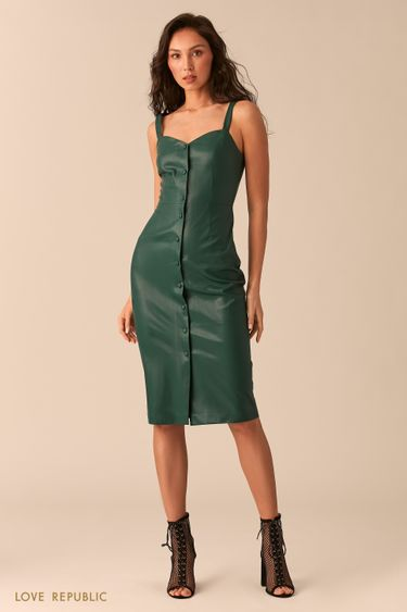 Зелёное платье-футляр на пуговицах 0254250552