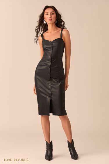 Чёрное платье-футляр на пуговицах 0254250552