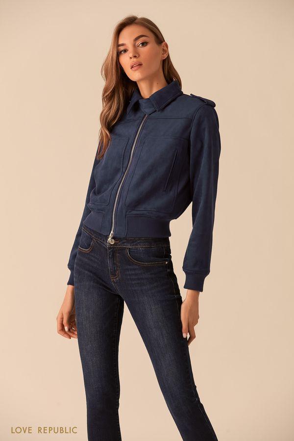Куртка-бомбер из замшевого материала голубого цвета 02542150115-41