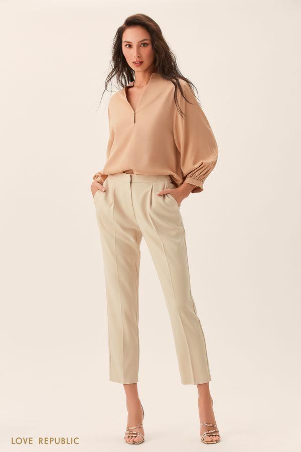Короткие кремовые брюки со стрелками 0254218718-61