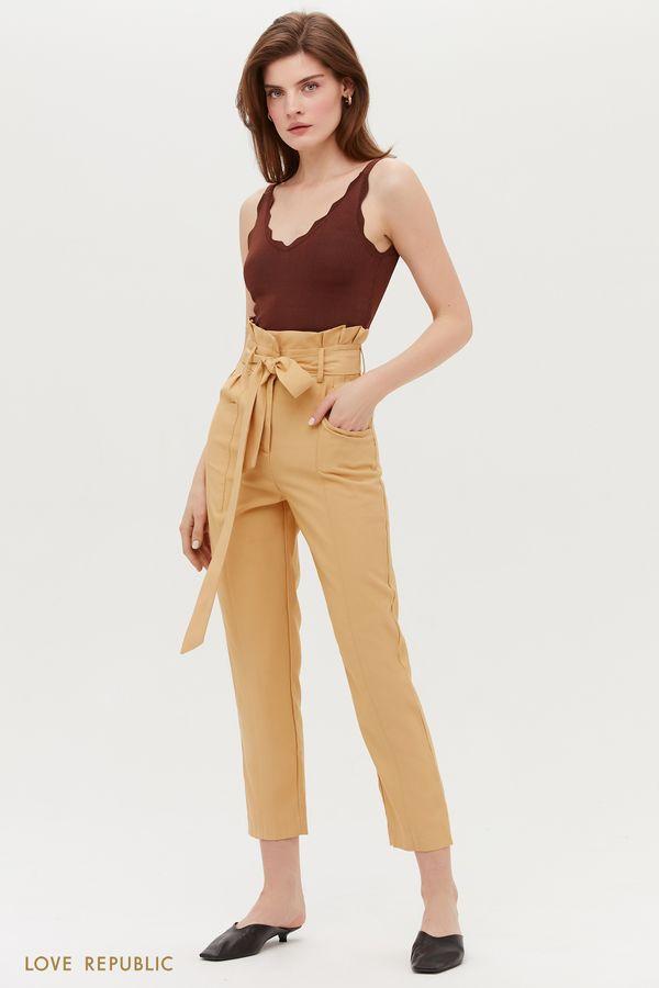 Стильные брюки с поясом и защипами на талии 0254228755-17
