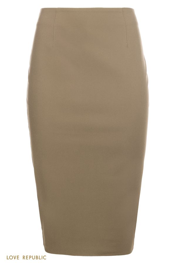 Юбка-карандаш длины миди со шлицей оливкого цвета 02542340218-13