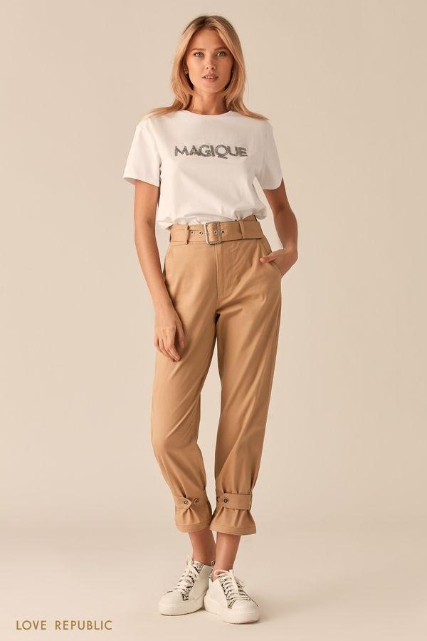 Шоколадные укороченные брюки с ремешками 0254235757-22