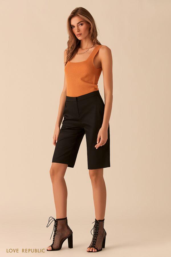 Чёрные шорты-бриджи из костюмной ткани 0254236763-50