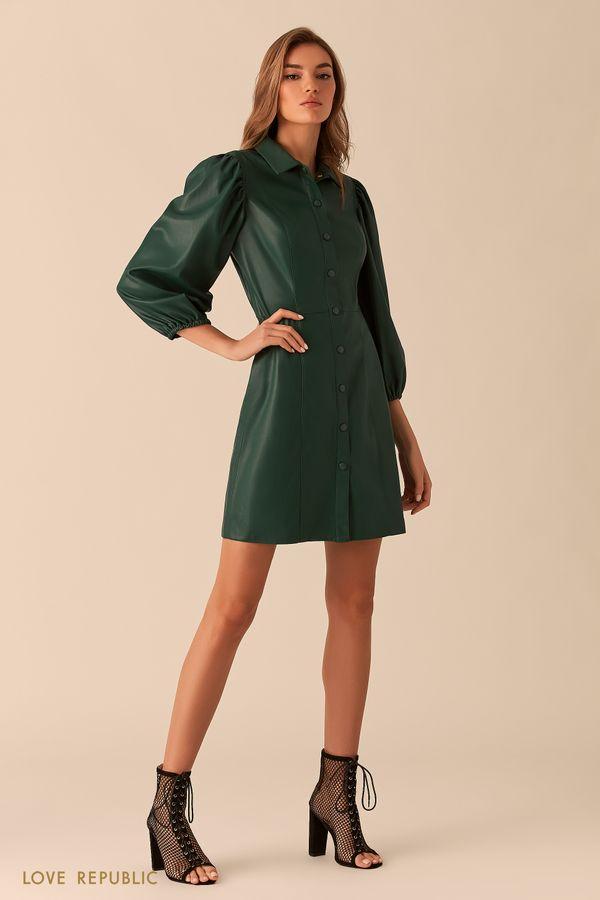 Чёрное платье изискусственной кожи спышными рукавами 0254244529-50