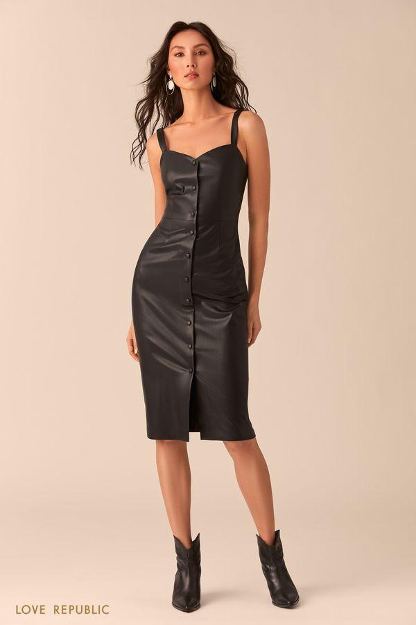 Чёрное платье-футляр на пуговицах 0254250552-50