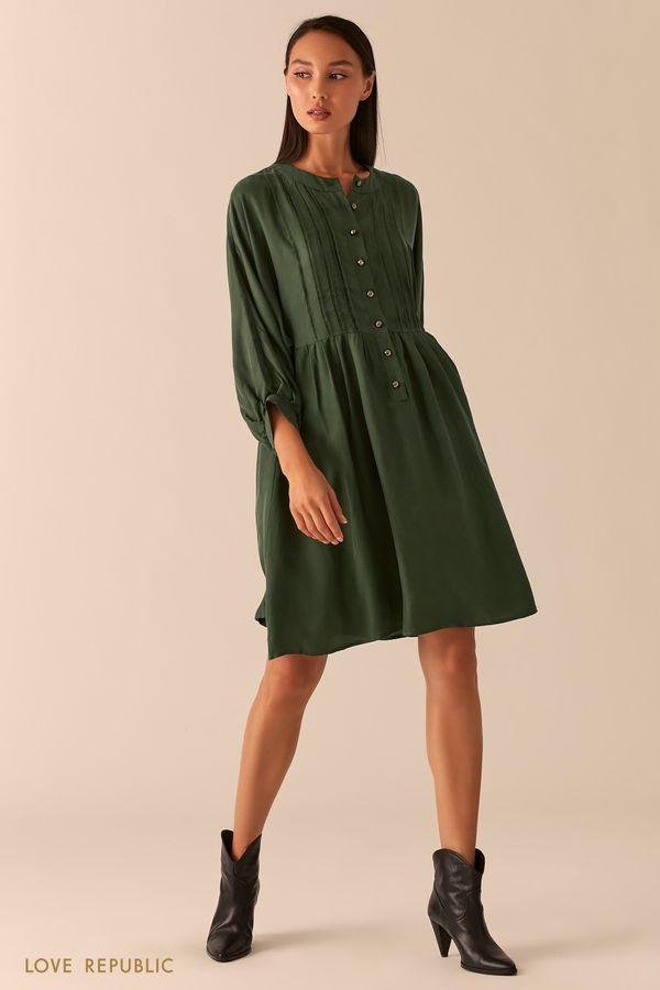Зеленое свободное платье в стиле бохо 0254252536-12