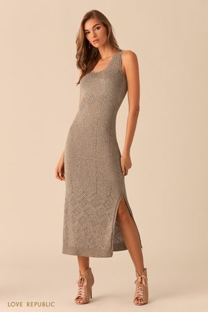 Длинное серо-бежевое платье из трикотажа с люрексом