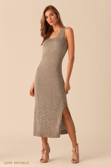 Длинное серо-бежевое платье из трикотажа с люрексом 0254302511