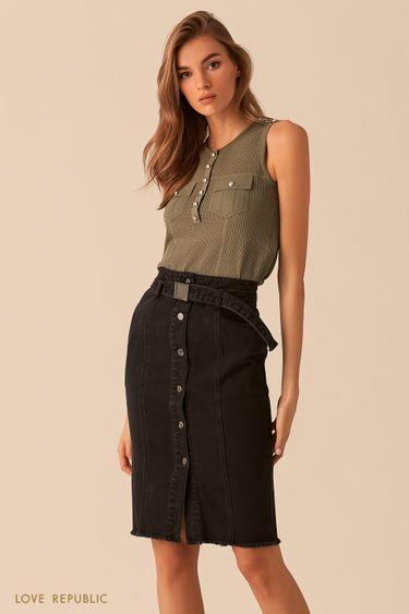 Оливковая блузка без рукавов с вязаной фактурой 02543080810