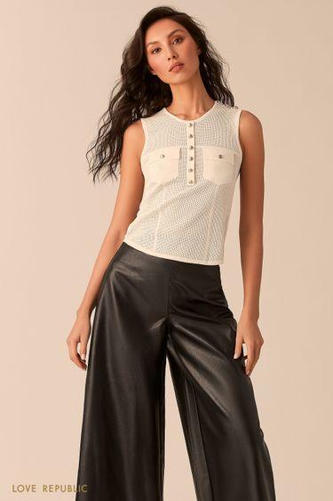 Молочная блузка без рукавов с вязаной фактурой 02543080810