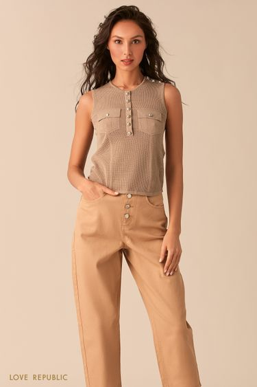 Бежевая блузка без рукавов с вязаной фактурой 02543080810
