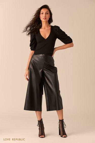 Короткая чёрная блузка свшитым поясом 0254317817