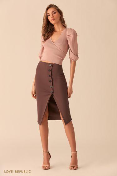 Короткая блузка цвета пудры свшитым поясом 0254317817