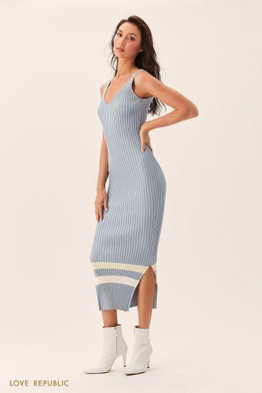 Длинное голубое платье без рукавов из трикотажа 02543180535