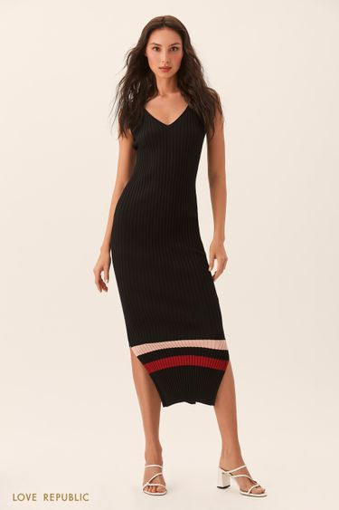 Длинное чёрное платье без рукавов из трикотажа 02543180535