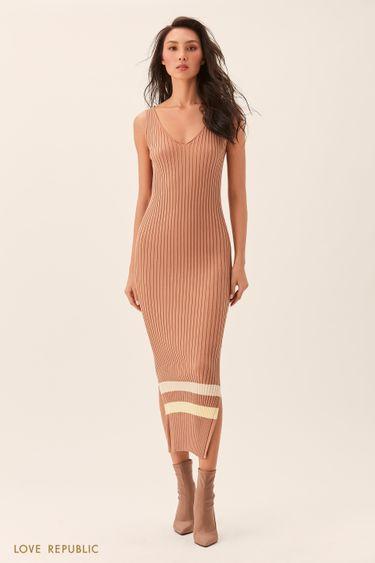 Длинное песочное платье без рукавов из трикотажа 02543180535