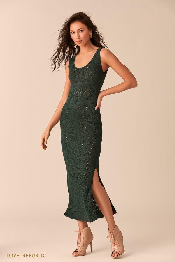 Длинное тёмно-зелёное платье из трикотажа с люрексом 0254302511-17