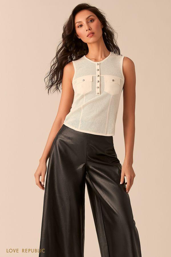 Оливковая блузка без рукавов с вязаной фактурой 02543080810-13