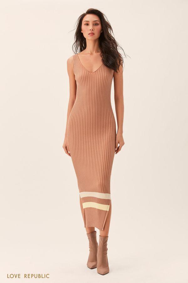Длинное чёрное платье без рукавов из трикотажа 02543180535-50