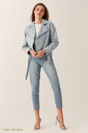 Джинсовая куртка-косуха голубого цвета фото