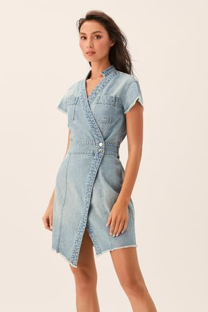 Асимметричное платье из денима цвета светлый индиго фото