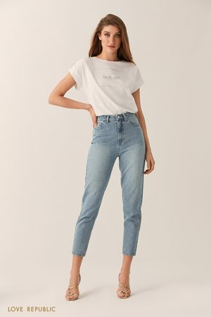 Базовые зауженные джинсы цвета светлый индиго фото